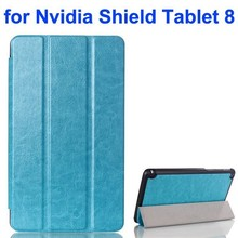 3 Folding Pattern Crazy Horse Texture Leather Flip Smart Cover for Nvidia Shield Tablet 8