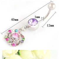 New Fashion Stainless Steel Flower Crystal Belly Ring Navel Ring Bar Body Piercing Jewelry