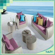 S.D living room high quality popular PE rattan half round sofas