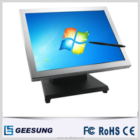 15 inch white color vga usb monitor metal case touch screen monitor