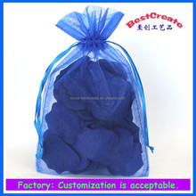 Fashionable and Recyclable 5'x8' sapphire Drawstring plain organza wedding pouc