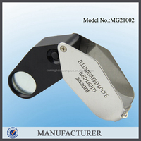 MG21002, silver and black plastic LED magnifying glass