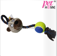 2015 wholesale plush cow with rope and tennis ball