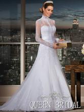 encaje blanco collar de hign vestido de novia de manga larga de China Vestidos novia de de de