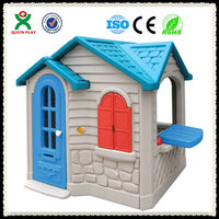 China guangzhou cheap kids outdoor playhouses for sale/cute children toy house /outdoor playhouse for kindergarden QX-158E
