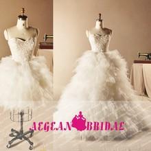 D154 Fairy Beaded 2015 New Arrival Puffy Wedding Dresses