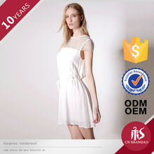 OEM 100% Rayon Elegant Women Newest Design Round Neck Breeze Girl Dresses