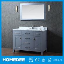 Cheap American Style Wooden Bathroom Vanity Furniture Triple Faucet