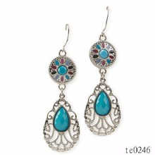 Yiwu New Desingn European Enamel Filigree Tear Drop Earrings
