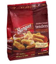 Food service chicken breast tenders packing bag/Side gusset chicken meat packing bag /Plastic meat bag