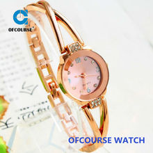 2015 origin design delicate gold rose small round dial watch dress for woman