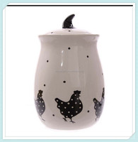 Ceramic Black Chicken Tall Cookie Pot With Lid