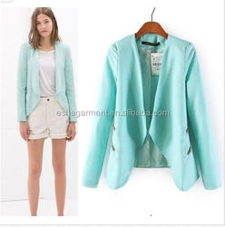 2015 Autumn women Zip Detail Slim Suit Jacket Blazer Mint Blue/Black blazer