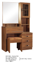 Wooden Modern Dressing Table Makeup Dresser with Mirror and Stool