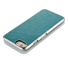 Leather mobile phone case with metal frame for Iphone 6, Ostrich pattern