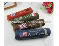 The Popular cute round flag PU pen pouch/students pencil bags(wholesale)