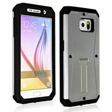 Luxury Metallic color armored tank waterproof shockproof case for samsung galaxy S6 with stand