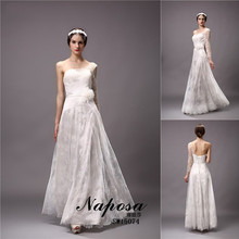 High fashion one shoulder long sleeve vintage lace wedding dress 2015 plus size alibaba express natural hope bridal gown