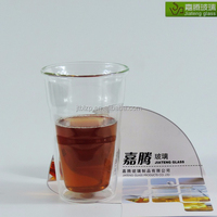 2016 new products,Borosilicate glass beautiful heat resistant unique 400cc double wall cup