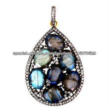 Colgante con Piedras Preciosas Ventas al Por mayor de joyeria Vintange con Diamantes Colgantes de Oro Amarillo 14k