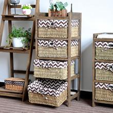 new antique wooden handicraft grass woven basket Storage Unit cabinet