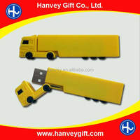Yellow truck PVC and metal material cute toy usb flash drive