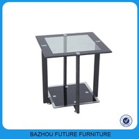 square tempered glass coffee table with metal legs,side table for sale