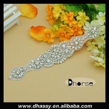 China Cheap Wholesale Bridal Rhinestone Appliques,Bridal Sash Applique For Wedding Dress DH-918