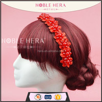 Factory directly red beaded handmade chinese wedding hair accessories