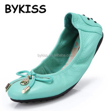 Guangzhou shoe manufacturer for real leather foldable ladies casual shoes