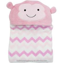 100% polyester coral fleece hooded print blanket for girls