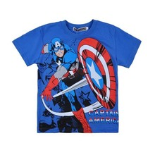2014 New boys leisure Captain America t-shirt kids short sleeve cotton t shirts children's cute sports tees tops in stock