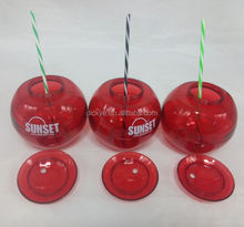 Sedex Factory 600ml 21oz Ball shaped plastic straw drinking glasses,plastic fruit shape bottle,cannonball cup