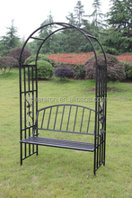 metal garden arch with bench, square tube&powder coating, outerdoor leisure