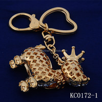 Wholesales Fancy Golden hollow An crown Richly Colorful Metal keychains