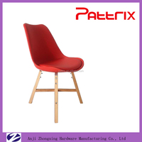 AH-2008NC Pattrix Plastic Dining Chair Red Leather Wooden Frame