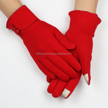 customized soft red smart finger ladies touch gloves