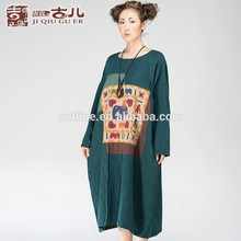 la primavera 2015 exótico diseño de algodón de manga larga de impresión vestido casual patrones