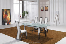 L806E european new classical glass dining table with leather chairs dining room furniture