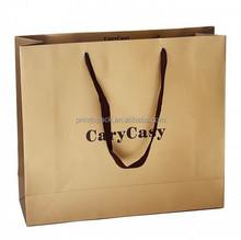 Thick kraft brown logo print paper bag, shopping plastic bag printed