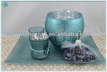 Stash jar, material de la vela, centros de mesa azul