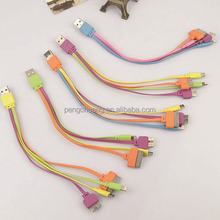 Universal Portable Multi USB Charger Cable for iPhone4 for iPhone5 / 6 for Samsung HTC Xiaomi Huawei Lenovo 4 in 1 Charge Cable