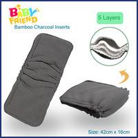 Leak Guard Organic Bamboo Charcoal Double Gusset Diaper Insert