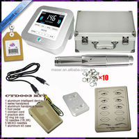 Digital permanent tattoo machine make up kit including free needles,tips,aluminum, case,foot pedal,practice skin.