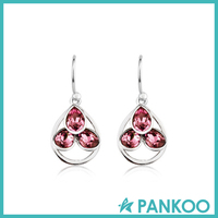 most popular white gold sterling silver crystal drop earring