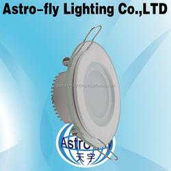 aluminum frame 12W round recessed LED glass panel light SMD5730 LED