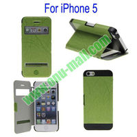 High Quality Business Style Flip Leather Case for iPhone 5 with Screen Display and Touch Function