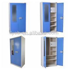 Waterproof metal furniture 2 door beige steel wardrobe / bi-color 2 door bedroom iron godrej locker with interior chest and dra
