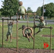 Bronze sport children sculptures playing horizontal bar