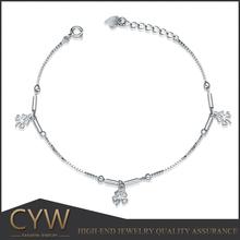 CYW 2015 fashion 925 sterling silver bracelet wholesale stamped s925 four leaf clover bracelet